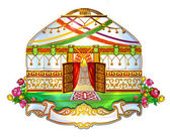 Ger, yurt, house, wedding yurt Kyrgyz yurt, өg, tundyuk, shanyrak — Stock Vector