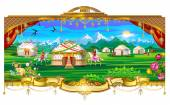 Village, village, yurts, horses, sky, mountains, grasslands, fields, people living in yurts — Stock Vector