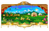 Village, village, yurts, horses, sky, mountains, grasslands, fields, people living in yurts — Cтоковый вектор