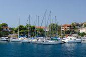 Yacht at mooring, Neos Marmaras, Greece — Stock Photo