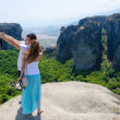 Tourists take pictures themselves on a background of a beautifu — Stock Photo #53611077
