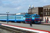 Diesel trains on ways of train station, Mogilev, Belarus — Stock Photo