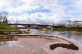 View of embankment of Zapadnaya Dvina in spring, Vitebsk, Belarus — Stock Photo