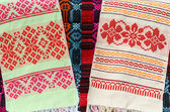 Belorussian towels with a classic geometric ornament — Stock Photo