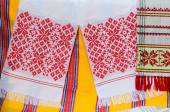Belorussian towels with a traditional ornament — Stock Photo