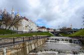 Mynning våren Vitba och utsikt över bron Pusjkin — Stockfoto
