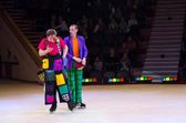 Action clown group of Moscow Circus on Ice on tours — Stock Photo