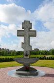 Cross on territory of Pokrovo- Nicholas Church, Klaipeda, Lithuania — Stock Photo
