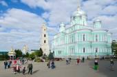 Cathedral Square in Holy Trinity Seraphim-Diveevo monastery, Diveevo, Russia — Stock Photo