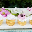 Four decorated cupcakes on white plate with flowers — Stock Photo #65298215