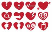 Conceptual Red Heart Icon Set — 图库矢量图片