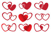 Red Hearts Vector Design for Love Theme — Vettoriale Stock