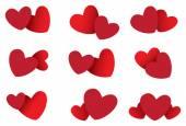 Two Hearts Vector Icon Set — Stock Vector