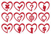 Red Heart Shape Vector Icon Set — Stock Vector