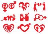 Man Woman Relationship Vector Icon Set — Stock Vector