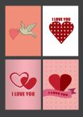 Four Designs for Valentines Day Greeting Cards and Posters — Stock Vector