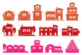 Vector Icon Set of Houses and Homes Isolated on White Background — Stock Vector