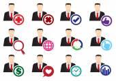Businessman Web Interface Icon Set  — Stock Vector
