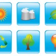 Blue Environmental Conservation Icon Set — Stock Vector #54261693