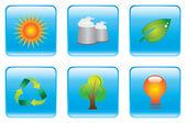 Blue Environmental Conservation Icon Set — Stock Vector