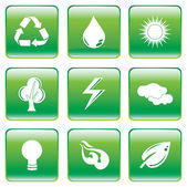 Green Buttons with Environmental Conservation Symbol — Stock Vector