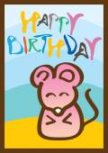 Happy birthday card with mouse — Stock Vector