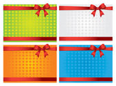 Set of four Colorful gift cards with red ribbons — Stock Vector