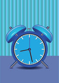 Illustration of a alarm clock in blue. — Stock Vector