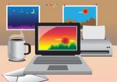 Vector office computer with photographs — Vettoriale Stock