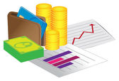 Money with stock chart — Vetorial Stock