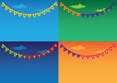 Colorful Outdoor bunting and garland sets — Stock Vector