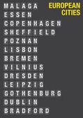 Name of European Cities on Airport Flip Board   — Vector de stock