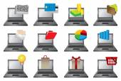 Laptop Computer with Icons Vector Illustration — ストックベクタ