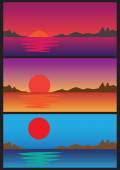 Sunrise and Sunset over water Vector Illustration Set — Stock Vector