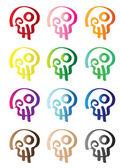 Colorful Vector Skull Pattern Vector Wallpaper — Stock Vector