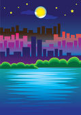 Romantic Urban Scene of City skyline in the Moonlight Vector Ill — Stock Vector
