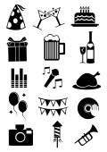 Isolated icons for celebration and parties — Stock Vector