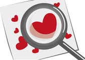 Magnifying glass with hearts — Cтоковый вектор