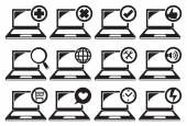 Laptop and Different Functions Icon Set — Stock Vector