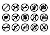 No signs for different prohibited activities. Isolated on white background. — Stock Vector