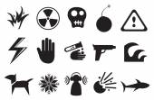 Icons and Symbols for Danger — Stock Vector