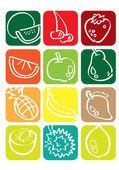 Fruits Icon Set — Stock Vector