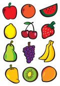 Vector illustrate fruits — Vector de stock