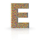 3D Vector Font with Reflection Alphabet Letter E — Stock Vector