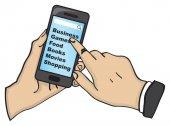 手のタッチ画面携帯電話ベクトル Illustrat クローズ アップ — ストックベクタ