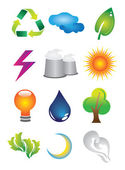 2D Environmental Conservation Icons — Stock Vector
