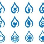 Blue Vector Water Drop Symbol Icon Set — Stock Vector #64804021