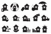 Real estate icons set in black.  — Cтоковый вектор