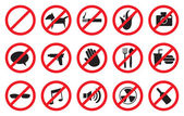 Red No Signs and Anti- Symbols for Prohibited Activities — Stock Vector