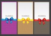Three vertical invitation card — Vettoriale Stock